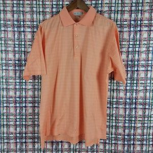 Peter Millar Orange White Checks Polo Golf Shirt